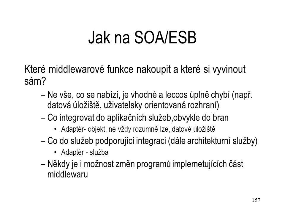157 Jak na SOA/ESB Které middlewarové funkce nakoupit a které si vyvinout sám? –Ne vše, co se nabízí, je vhodné a leccos úplně chybí (např. datová úlo