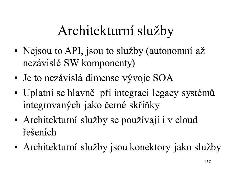 158 Architekturní služby Nejsou to API, jsou to služby (autonomní až nezávislé SW komponenty) Je to nezávislá dimense vývoje SOA Uplatní se hlavně při