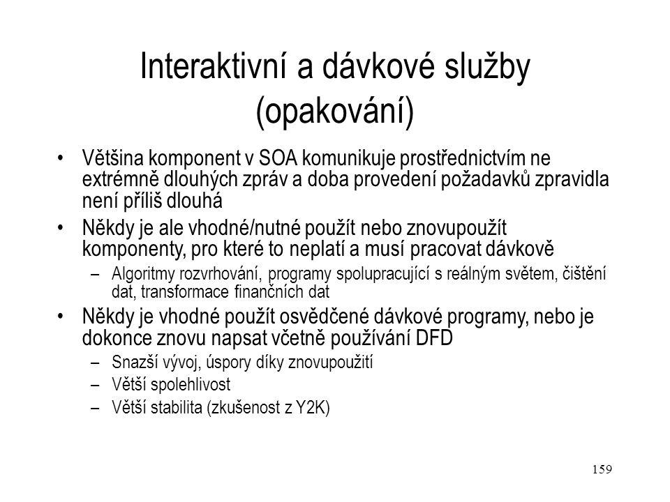 159 Interaktivní a dávkové služby (opakování) Většina komponent v SOA komunikuje prostřednictvím ne extrémně dlouhých zpráv a doba provedení požadavků