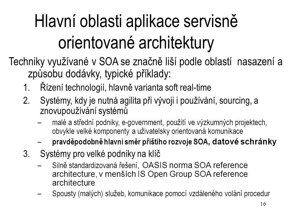 16 Hlavní oblasti aplikace servisně orientované architektury Techniky využívané v SOA se značně liší podle oblastí nasazení a způsobu dodávky, typické