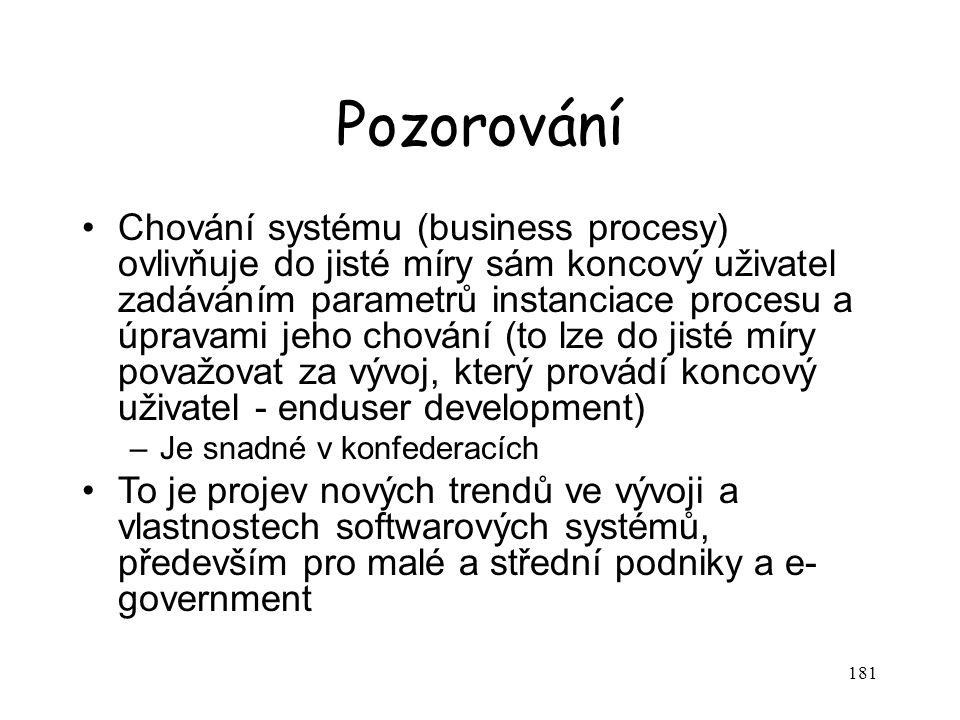 181 Pozorování Chování systému (business procesy) ovlivňuje do jisté míry sám koncový uživatel zadáváním parametrů instanciace procesu a úpravami jeho