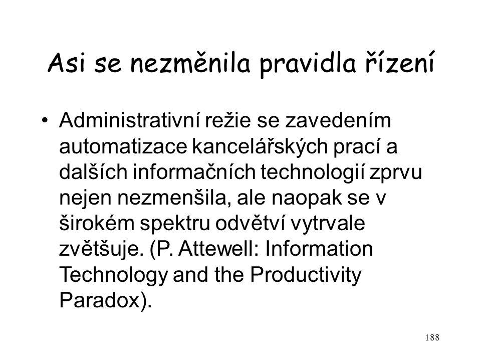 188 Asi se nezměnila pravidla řízení Administrativní režie se zavedením automatizace kancelářských prací a dalších informačních technologií zprvu neje