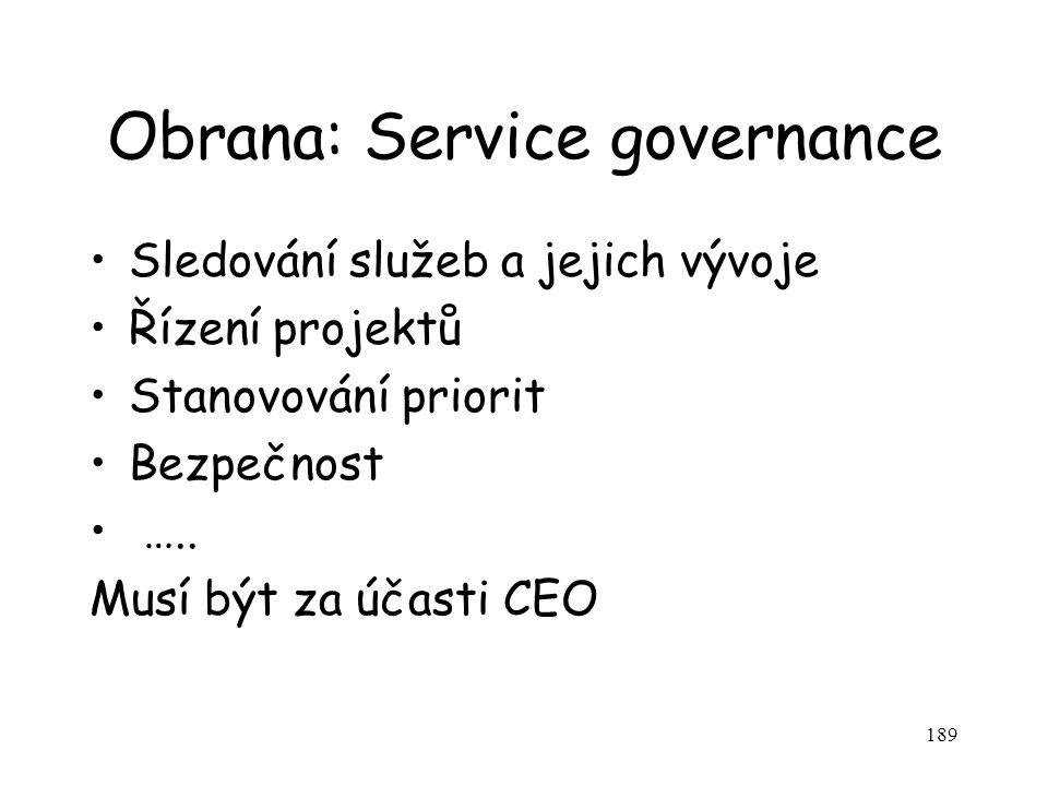 189 Obrana: Service governance Sledování služeb a jejich vývoje Řízení projektů Stanovování priorit Bezpečnost ….. Musí být za účasti CEO