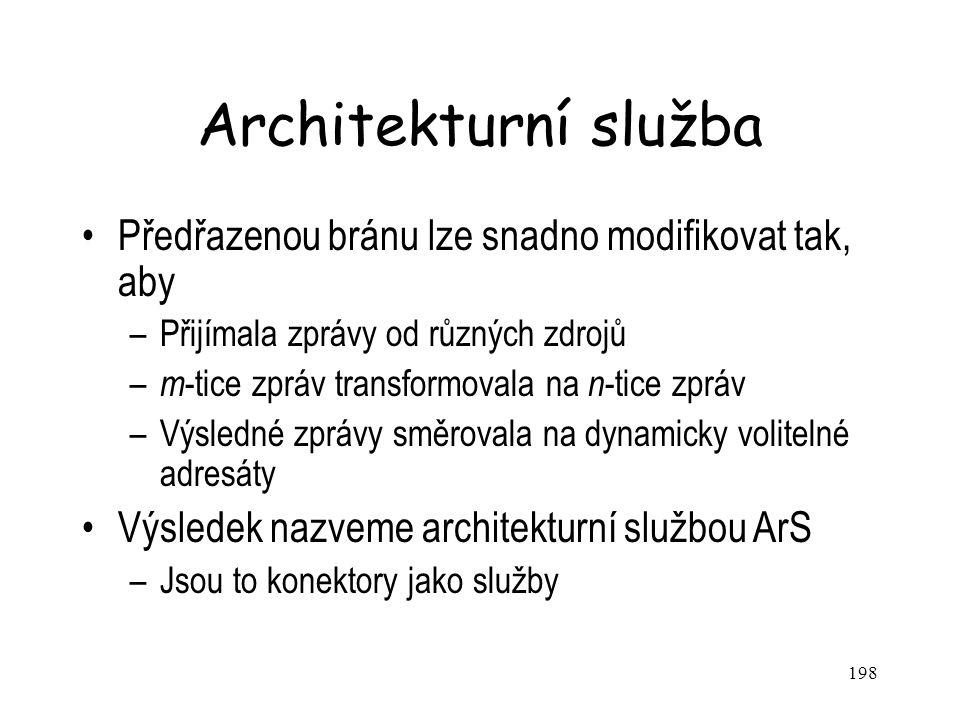 198 Architekturní služba Předřazenou bránu lze snadno modifikovat tak, aby –Přijímala zprávy od různých zdrojů – m -tice zpráv transformovala na n -ti
