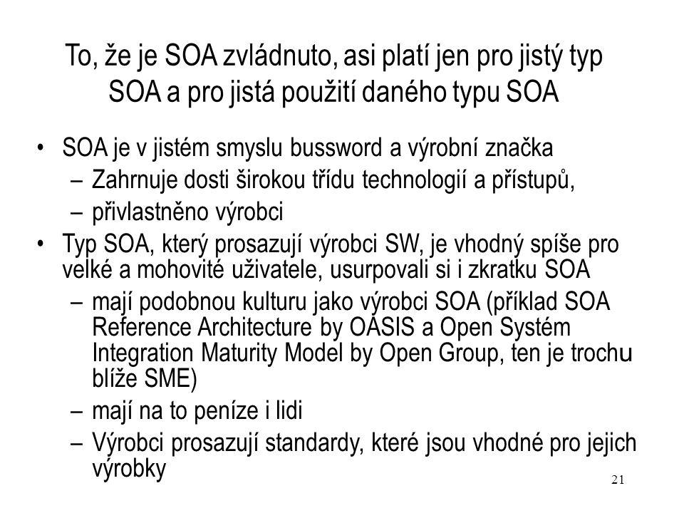 21 To, že je SOA zvládnuto, asi platí jen pro jistý typ SOA a pro jistá použití daného typu SOA SOA je v jistém smyslu bussword a výrobní značka –Zahr