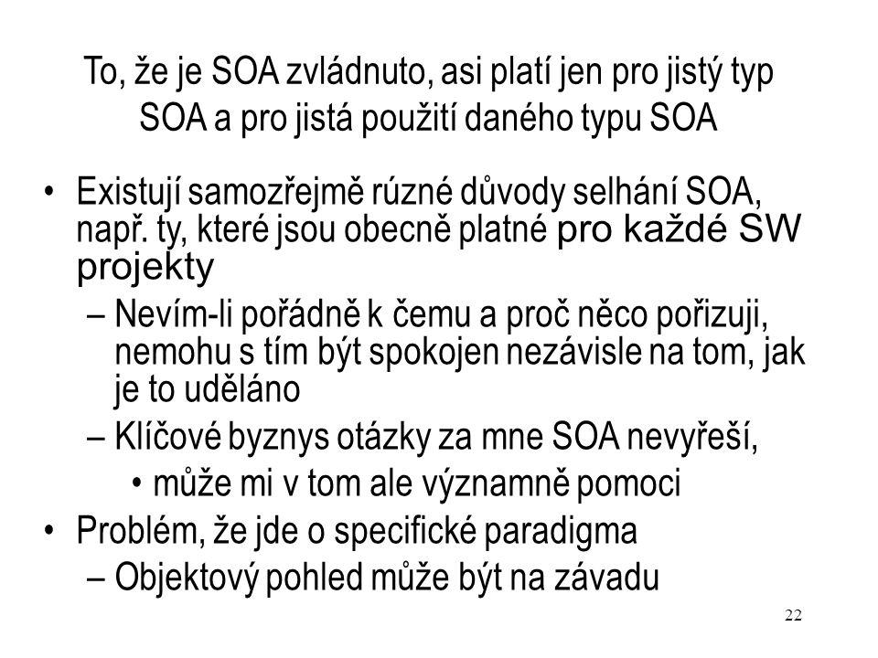 22 To, že je SOA zvládnuto, asi platí jen pro jistý typ SOA a pro jistá použití daného typu SOA Existují samozřejmě rúzné důvody selhání SOA, např. ty