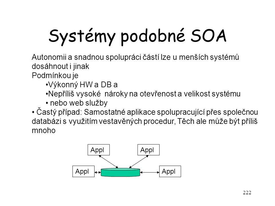 Systémy podobné SOA 222 Autonomii a snadnou spolupráci částí lze u menších systémů dosáhnout i jinak Podmínkou je Výkonný HW a DB a Nepříliš vysoké ná