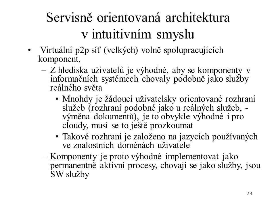 23 Servisně orientovaná architektura v intuitivním smyslu Virtuální p2p síť (velkých) volně spolupracujících komponent, –Z hlediska uživatelů je výhod