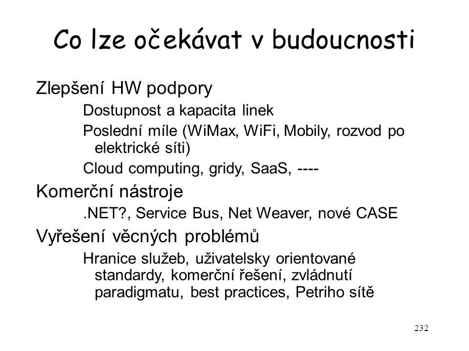 232 Co lze očekávat v budoucnosti Zlepšení HW podpory Dostupnost a kapacita linek Poslední míle (WiMax, WiFi, Mobily, rozvod po elektrické síti) Cloud