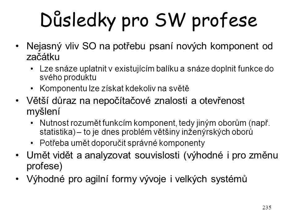 235 Důsledky pro SW profese Nejasný vliv SO na potřebu psaní nových komponent od začátku Lze snáze uplatnit v existujícím balíku a snáze doplnit funkc