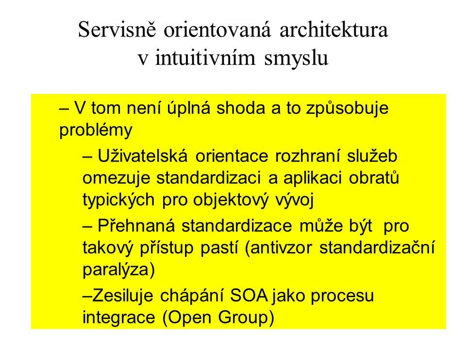 24 Servisně orientovaná architektura v intuitivním smyslu – V tom není úplná shoda a to způsobuje problémy – Uživatelská orientace rozhraní služeb ome