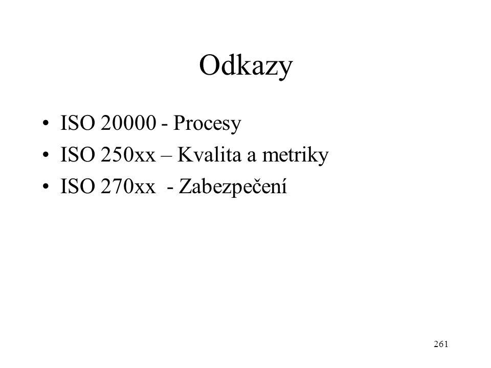 261 Odkazy ISO 20000 - Procesy ISO 250xx – Kvalita a metriky ISO 270xx - Zabezpečení