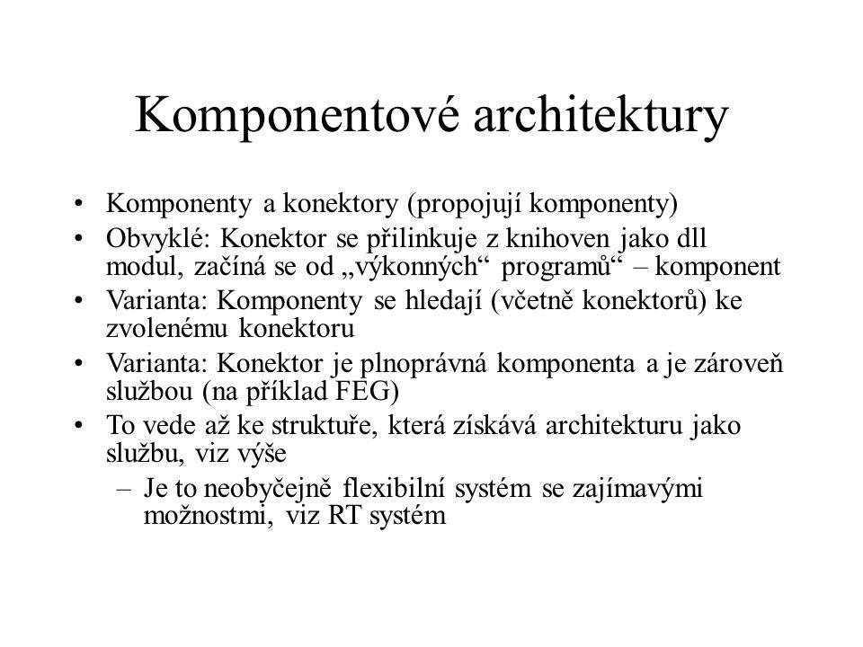 """Komponentové architektury Komponenty a konektory (propojují komponenty) Obvyklé: Konektor se přilinkuje z knihoven jako dll modul, začíná se od """"výkon"""