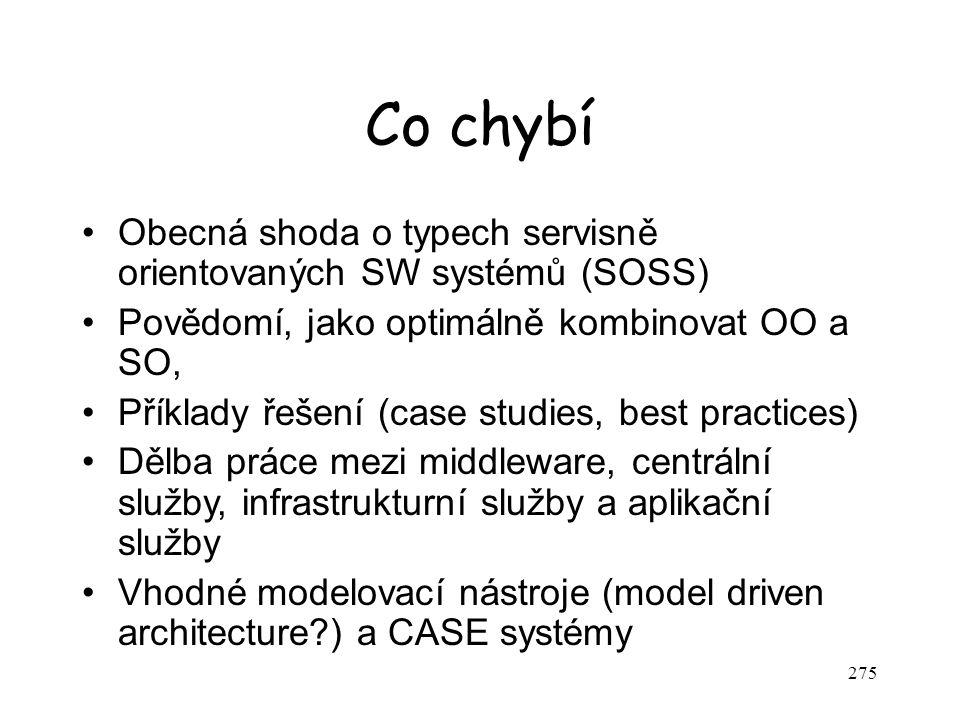 275 Co chybí Obecná shoda o typech servisně orientovaných SW systémů (SOSS) Povědomí, jako optimálně kombinovat OO a SO, Příklady řešení (case studies