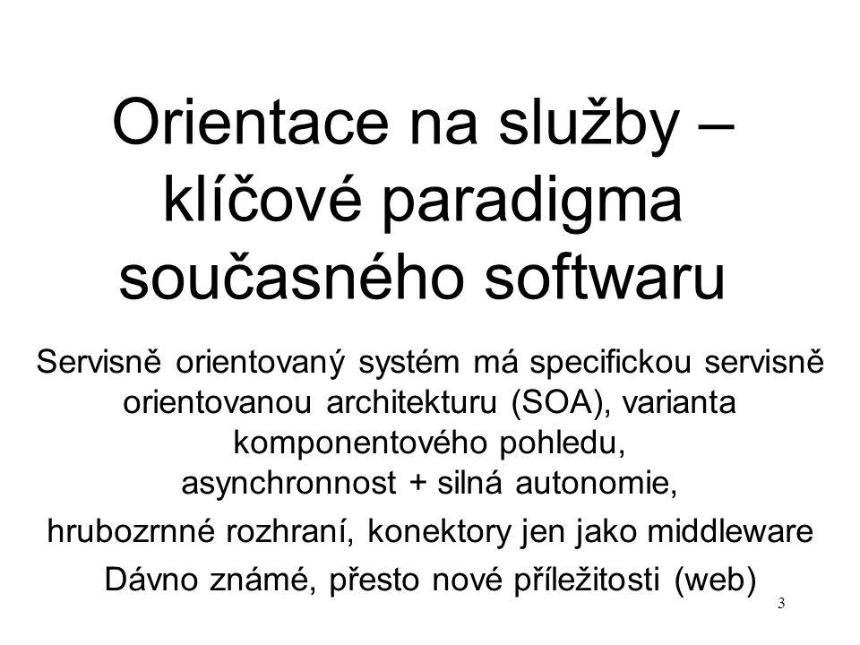3 Orientace na služby – klíčové paradigma současného softwaru Servisně orientovaný systém má specifickou servisně orientovanou architekturu (SOA), var