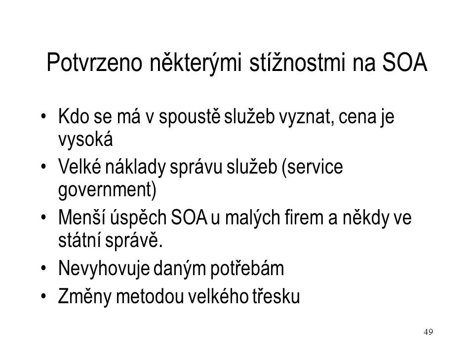49 Potvrzeno některými stížnostmi na SOA Kdo se má v spoustě služeb vyznat, cena je vysoká Velké náklady správu služeb (service government) Menší úspě