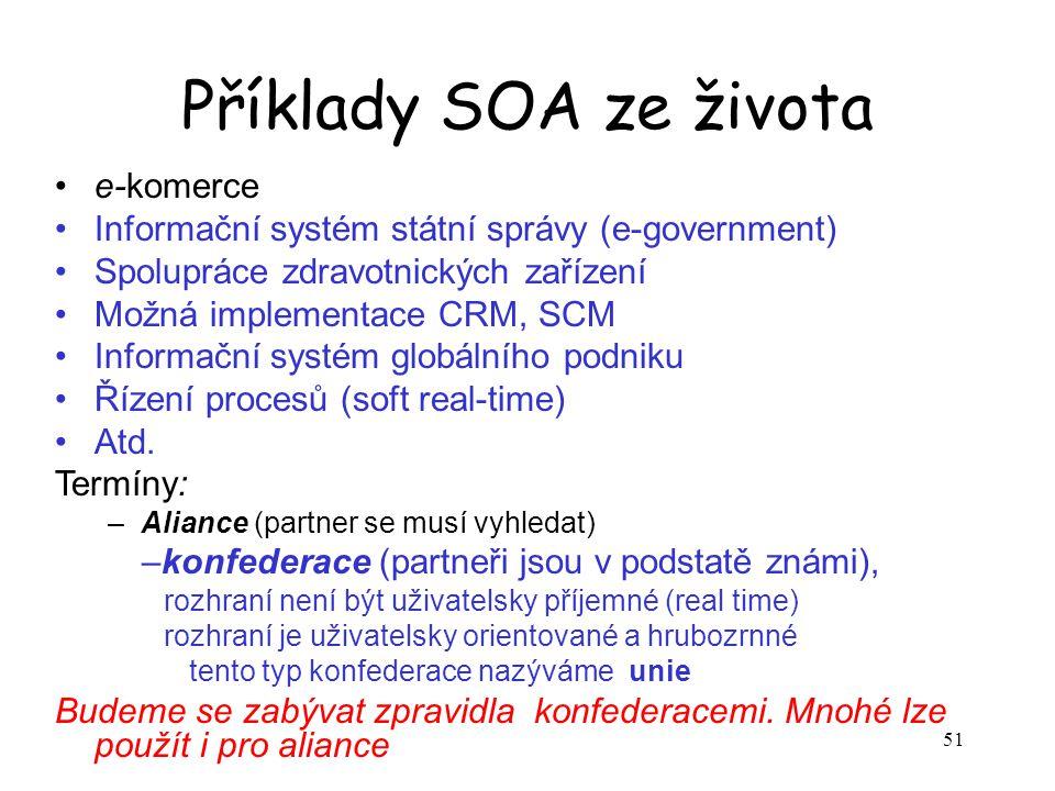 51 Příklady SOA ze života e-komerce Informační systém státní správy (e-government) Spolupráce zdravotnických zařízení Možná implementace CRM, SCM Info
