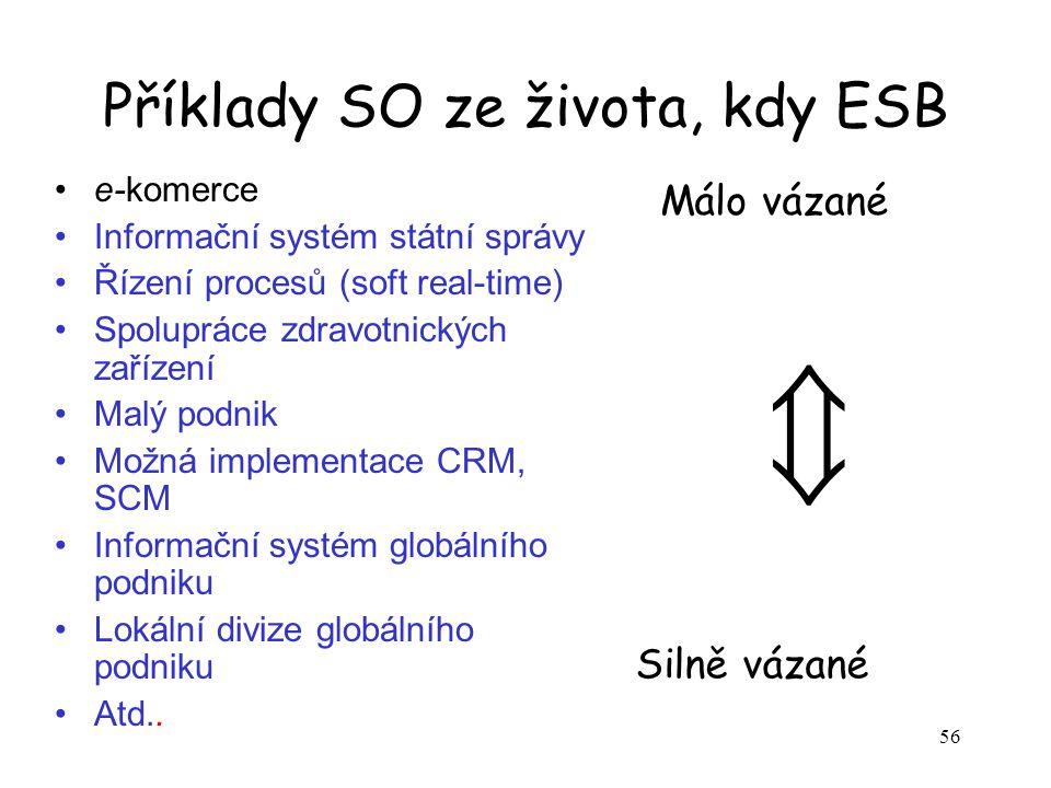 56 Příklady SO ze života, kdy ESB e-komerce Informační systém státní správy Řízení procesů (soft real-time) Spolupráce zdravotnických zařízení Malý po