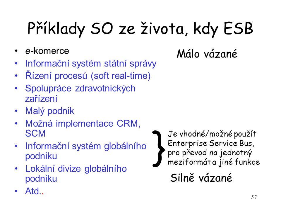 57 Příklady SO ze života, kdy ESB e-komerce Informační systém státní správy Řízení procesů (soft real-time) Spolupráce zdravotnických zařízení Malý po