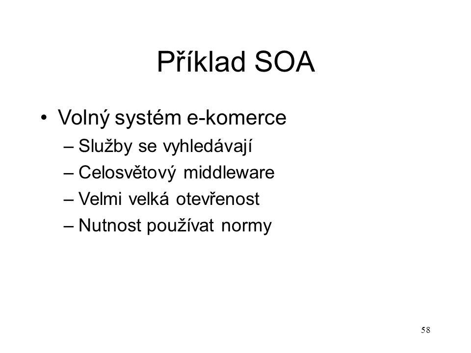58 Příklad SOA Volný systém e-komerce –Služby se vyhledávají –Celosvětový middleware –Velmi velká otevřenost –Nutnost používat normy