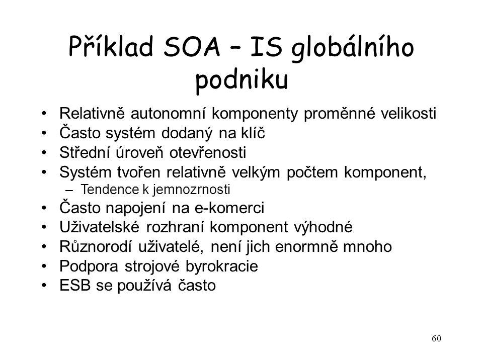 60 Příklad SOA – IS globálního podniku Relativně autonomní komponenty proměnné velikosti Často systém dodaný na klíč Střední úroveň otevřenosti Systém