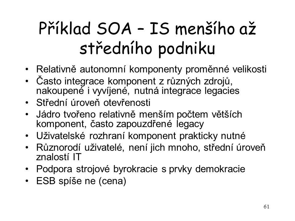61 Příklad SOA – IS menšího až středního podniku Relativně autonomní komponenty proměnné velikosti Často integrace komponent z různých zdrojů, nakoupe