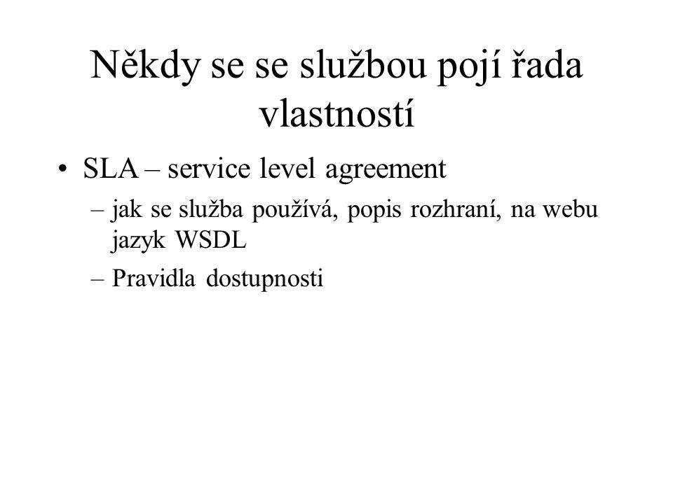 Někdy se se službou pojí řada vlastností SLA – service level agreement –jak se služba používá, popis rozhraní, na webu jazyk WSDL –Pravidla dostupnost