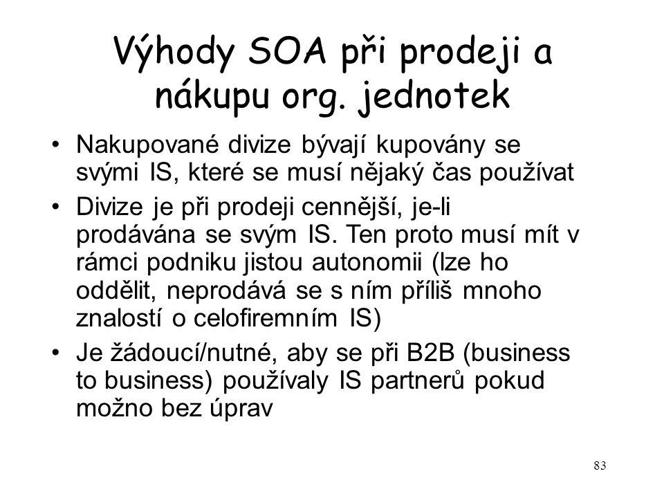 83 Výhody SOA při prodeji a nákupu org. jednotek Nakupované divize bývají kupovány se svými IS, které se musí nějaký čas používat Divize je při prodej