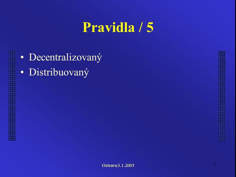 Ostrava 3.1.20057 Pravidla / 5 Decentralizovaný Distribuovaný