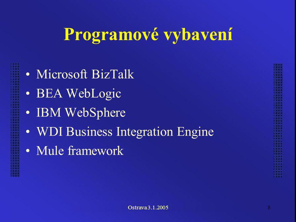 Ostrava 3.1.20058 Programové vybavení Microsoft BizTalk BEA WebLogic IBM WebSphere WDI Business Integration Engine Mule framework