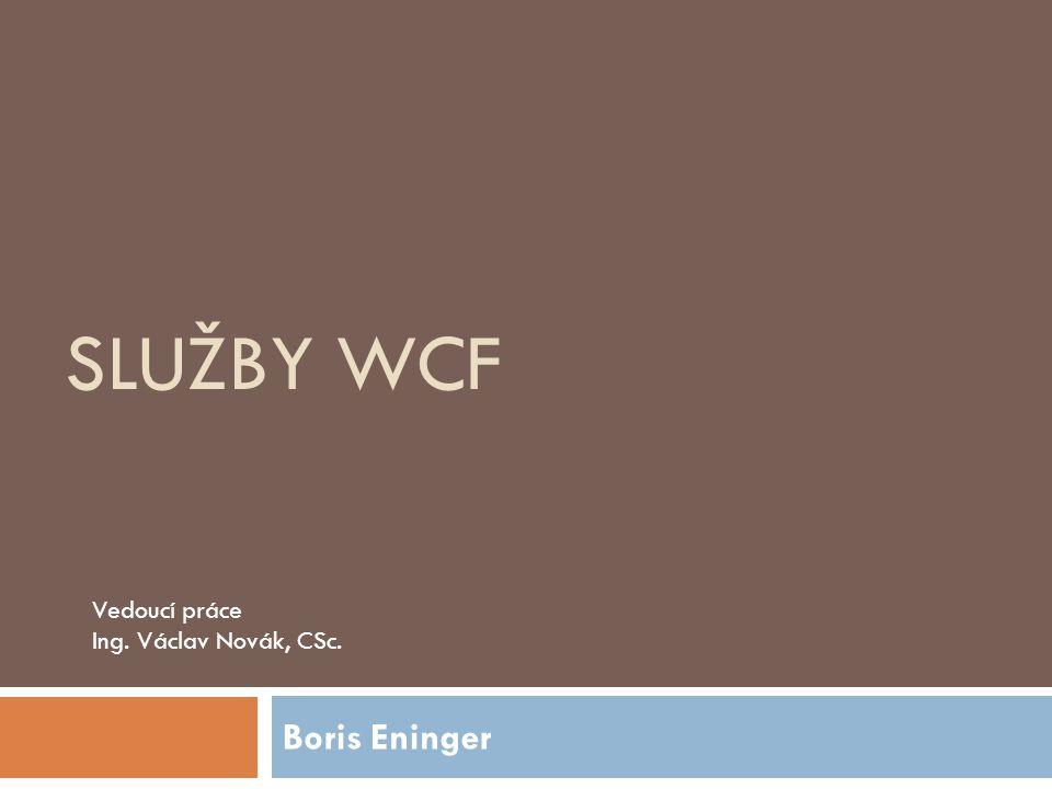 SLUŽBY WCF Boris Eninger Vedoucí práce Ing. Václav Novák, CSc.