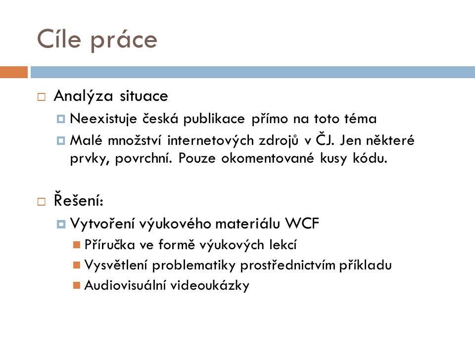 Cíle práce  Analýza situace  Neexistuje česká publikace přímo na toto téma  Malé množství internetových zdrojů v ČJ. Jen některé prvky, povrchní. P