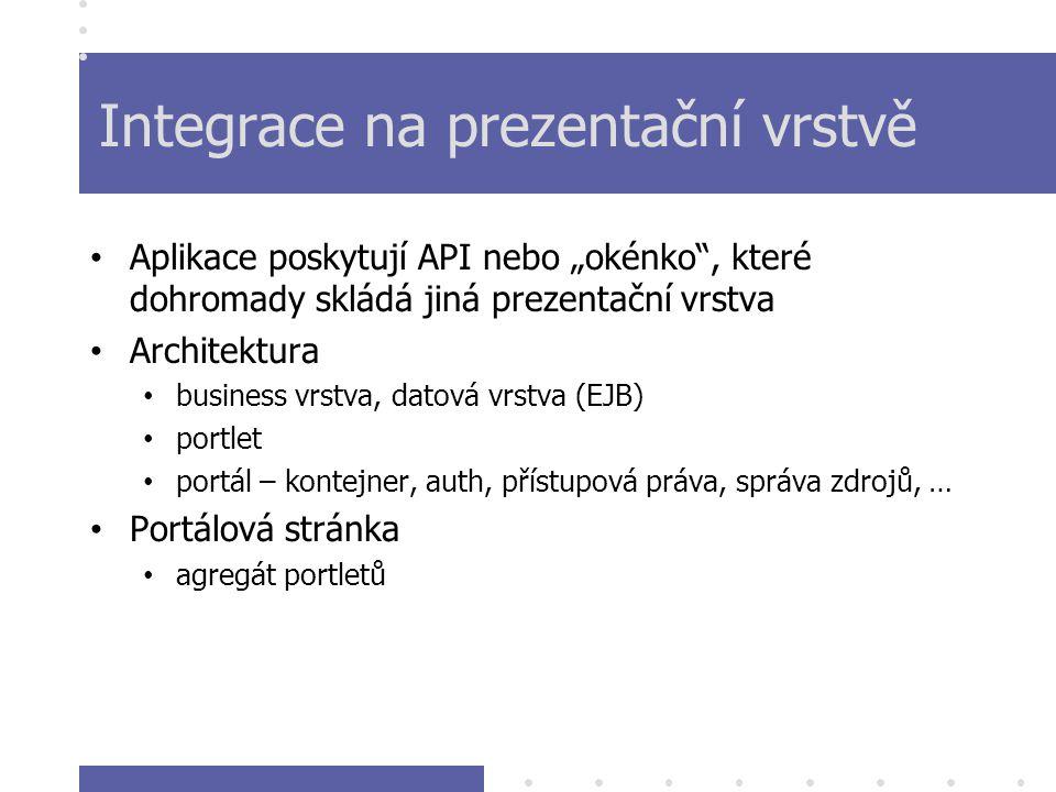 """Integrace na prezentační vrstvě Aplikace poskytují API nebo """"okénko , které dohromady skládá jiná prezentační vrstva Architektura business vrstva, datová vrstva (EJB) portlet portál – kontejner, auth, přístupová práva, správa zdrojů, … Portálová stránka agregát portletů"""