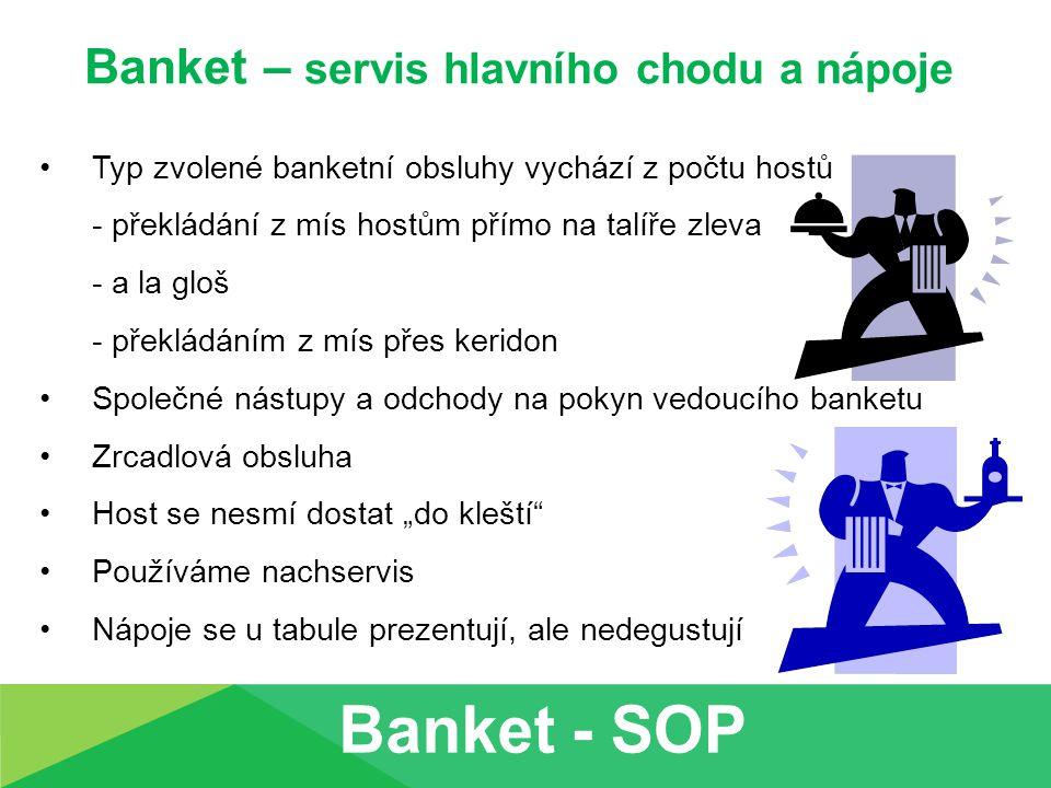 Banket – servis hlavního chodu a nápoje Typ zvolené banketní obsluhy vychází z počtu hostů - překládání z mís hostům přímo na talíře zleva - a la gloš