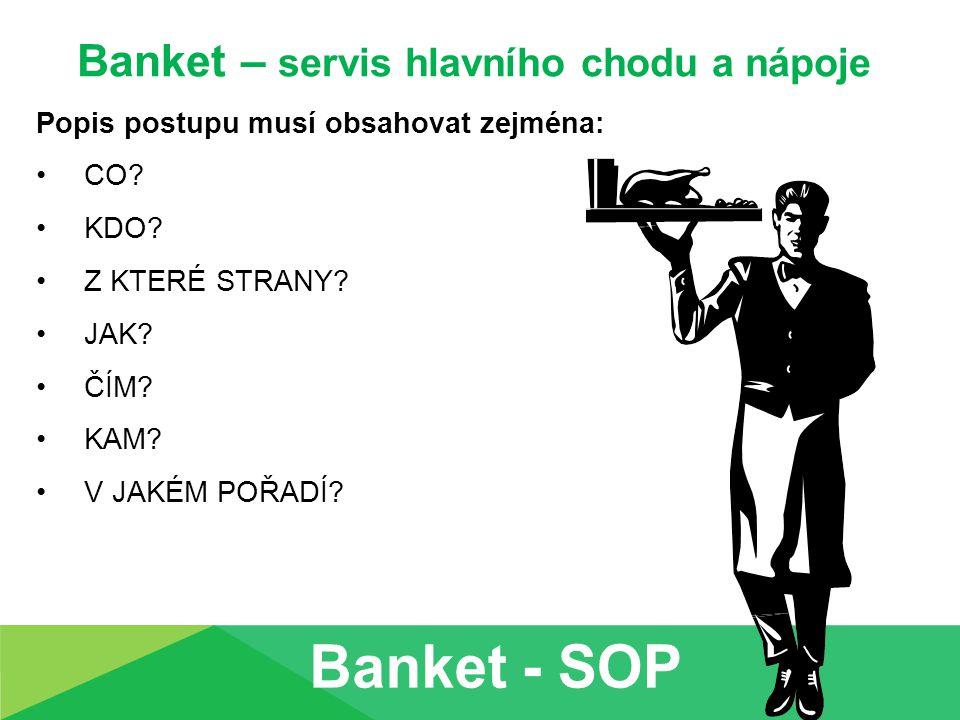 Banket – servis hlavního chodu a nápoje Popis postupu musí obsahovat zejména: CO? KDO? Z KTERÉ STRANY? JAK? ČÍM? KAM? V JAKÉM POŘADÍ?