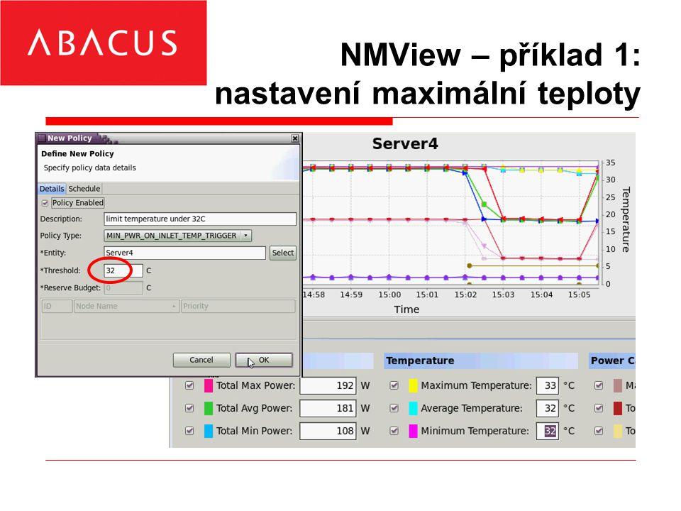 NMView – příklad 1: nastavení maximální teploty