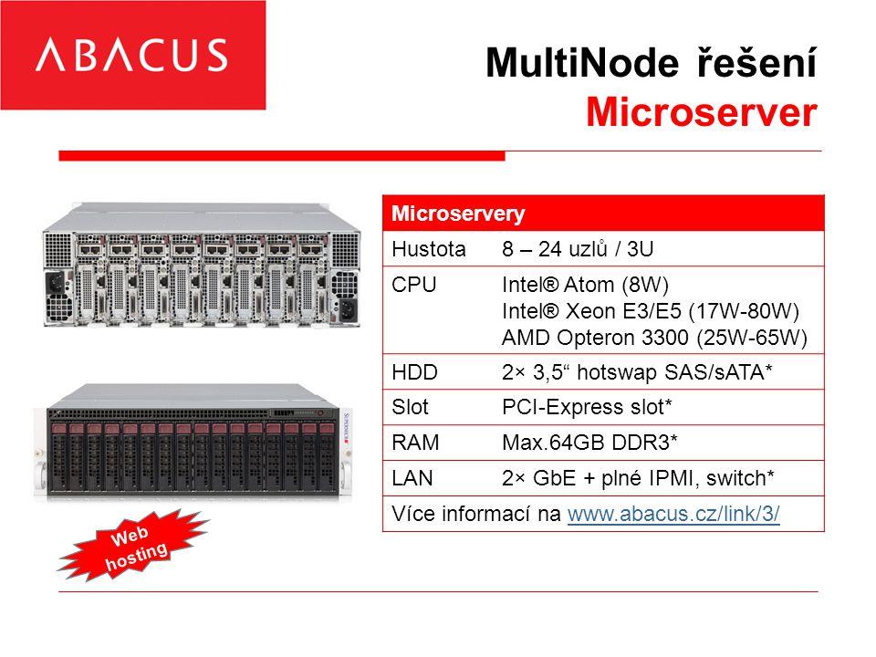 MultiNode řešení Microserver Microservery Hustota8 – 24 uzlů / 3U CPUIntel® Atom (8W) Intel® Xeon E3/E5 (17W-80W) AMD Opteron 3300 (25W-65W) HDD2× 3,5 hotswap SAS/sATA* SlotPCI-Express slot* RAMMax.64GB DDR3* LAN2× GbE + plné IPMI, switch* Více informací na www.abacus.cz/link/3/www.abacus.cz/link/3/ Web hosting