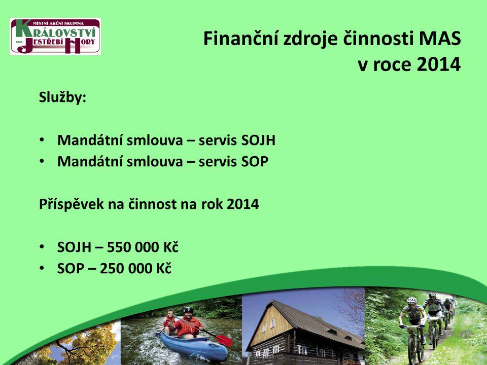 Finanční zdroje činnosti MAS v roce 2014 Služby: Mandátní smlouva – servis SOJH Mandátní smlouva – servis SOP Příspěvek na činnost na rok 2014 SOJH – 550 000 Kč SOP – 250 000 Kč
