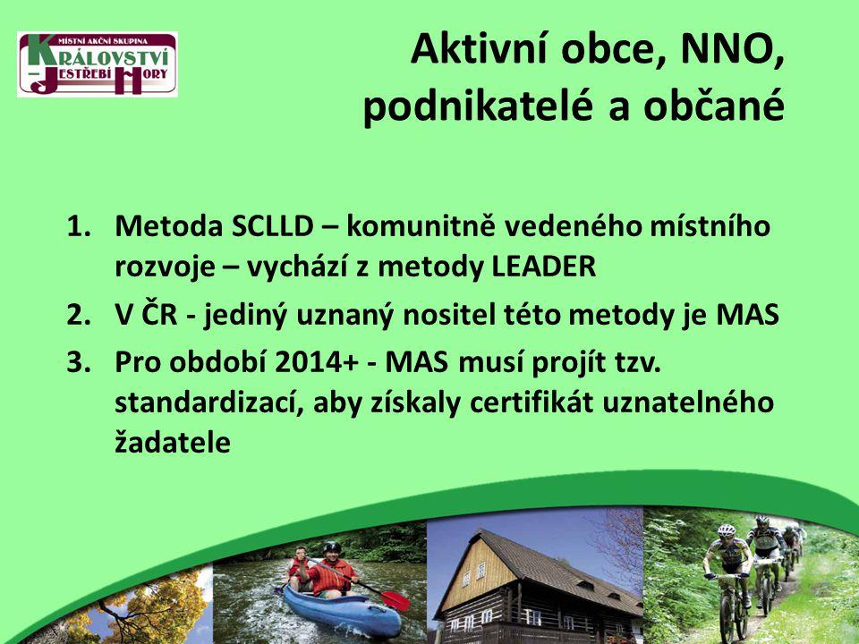 Aktivní obce, NNO, podnikatelé a občané 1.Metoda SCLLD – komunitně vedeného místního rozvoje – vychází z metody LEADER 2.V ČR - jediný uznaný nositel této metody je MAS 3.Pro období 2014+ - MAS musí projít tzv.