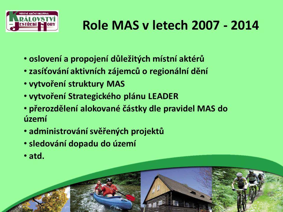 Role MAS v letech 2007 - 2014 oslovení a propojení důležitých místní aktérů zasíťování aktivních zájemců o regionální dění vytvoření struktury MAS vytvoření Strategického plánu LEADER přerozdělení alokované částky dle pravidel MAS do území administrování svěřených projektů sledování dopadu do území atd.