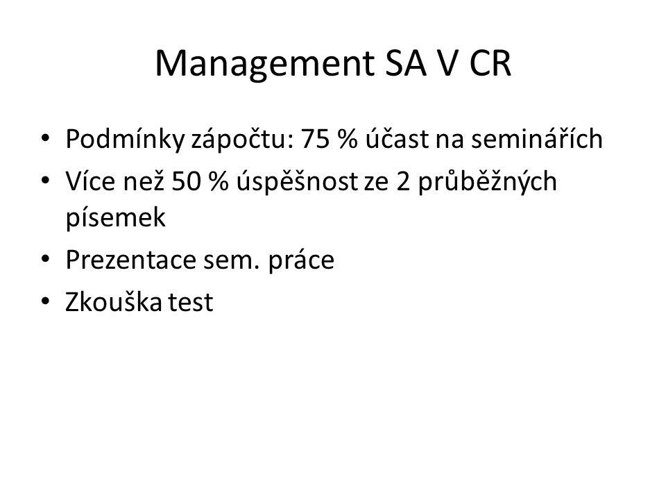Management SA V CR Podmínky zápočtu: 75 % účast na seminářích Více než 50 % úspěšnost ze 2 průběžných písemek Prezentace sem. práce Zkouška test