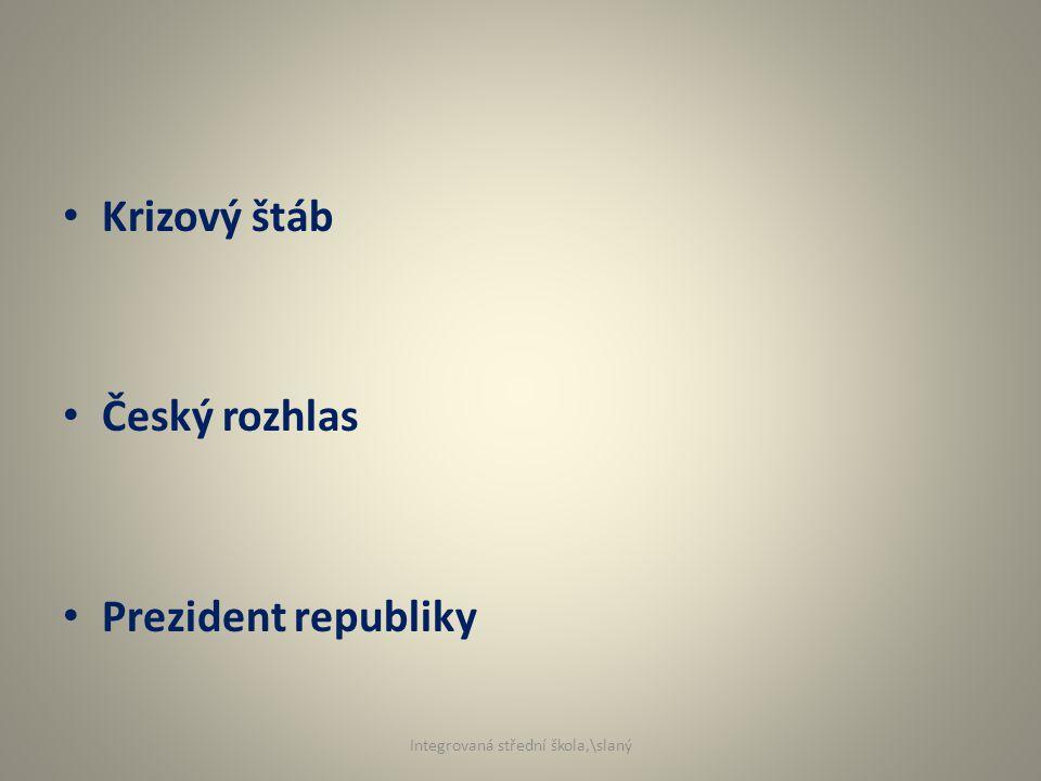 Krizový štáb Český rozhlas Prezident republiky Integrovaná střední škola,\slaný