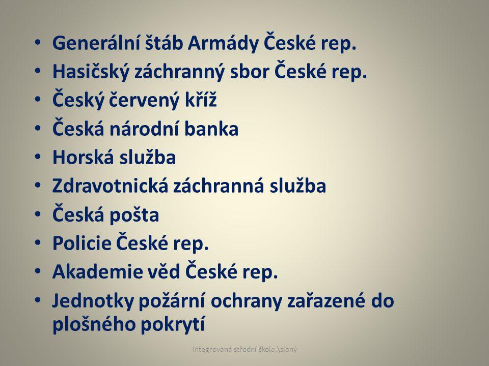 Generální štáb Armády České rep. Hasičský záchranný sbor České rep.