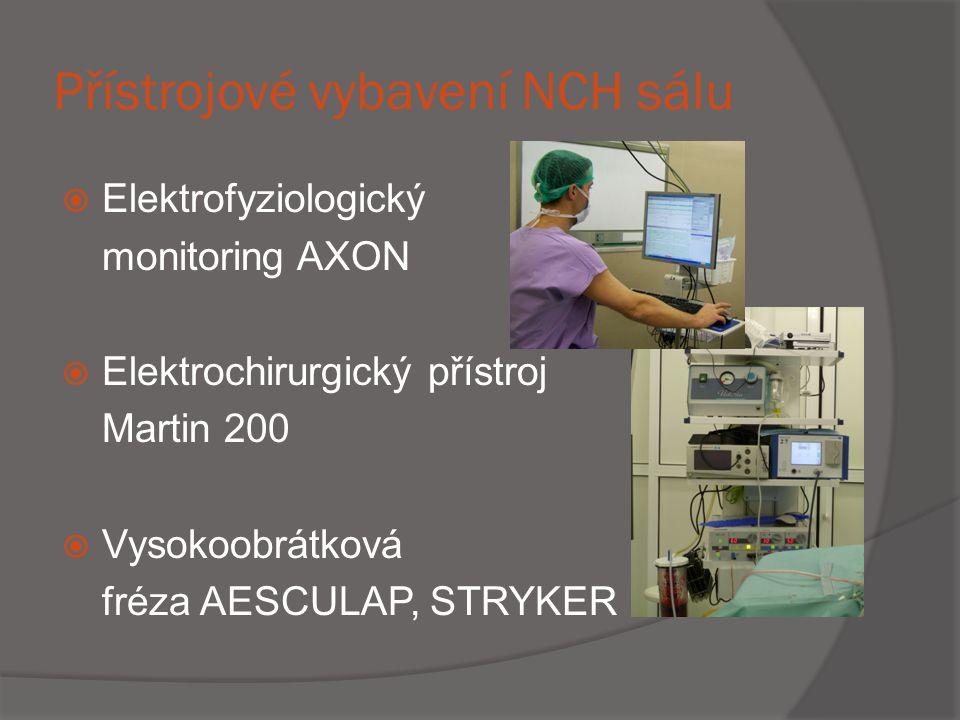 Přístrojové vybavení NCH sálu  Elektrofyziologický monitoring AXON  Elektrochirurgický přístroj Martin 200  Vysokoobrátková fréza AESCULAP, STRYKER