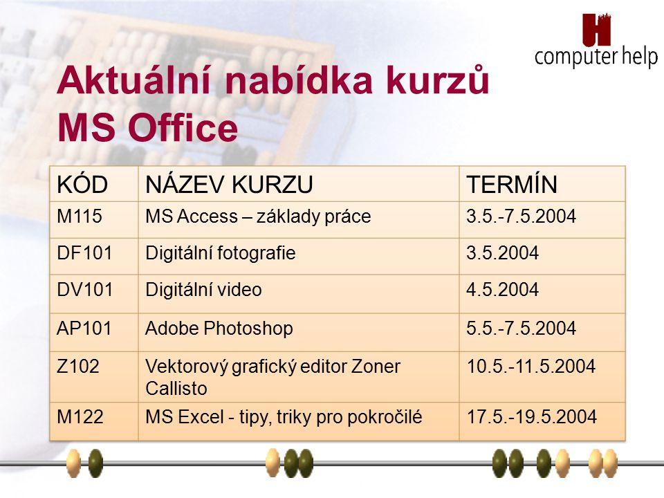 Aktuální nabídka kurzů MS Office