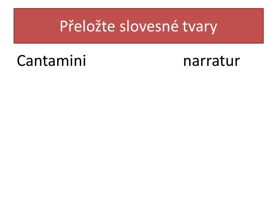 Přeložte slovesné tvary Cantamininarratur