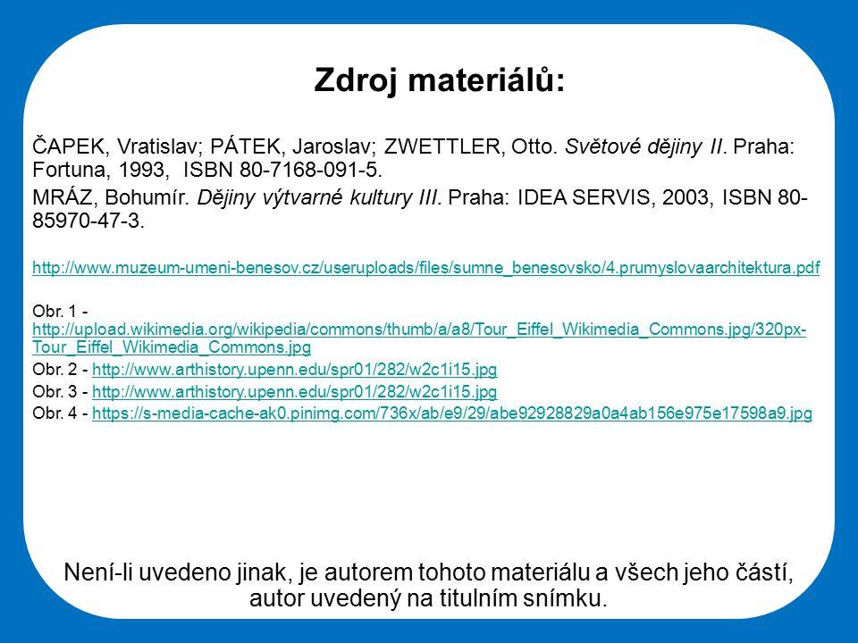 Střední škola Oselce Zdroj materiálů: ČAPEK, Vratislav; PÁTEK, Jaroslav; ZWETTLER, Otto.