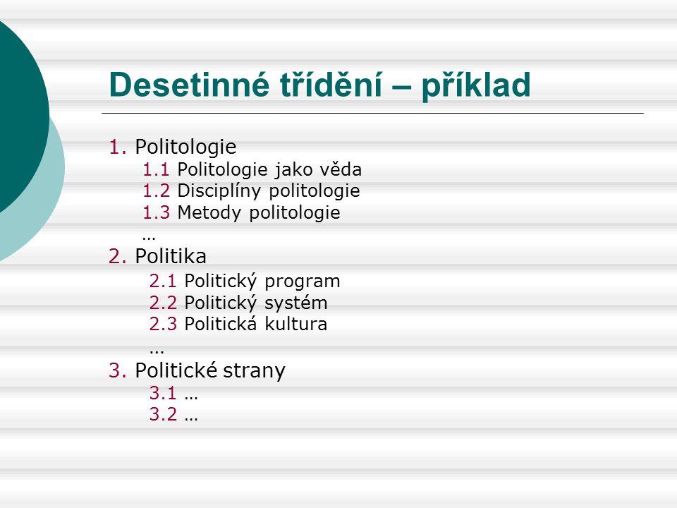 Desetinné třídění – příklad 1. Politologie 1.1 Politologie jako věda 1.2 Disciplíny politologie 1.3 Metody politologie … 2. Politika 2.1 Politický pro