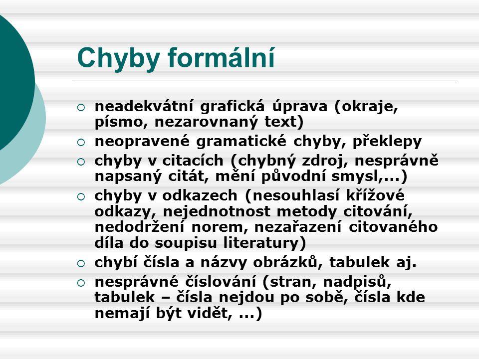 Chyby formální  neadekvátní grafická úprava (okraje, písmo, nezarovnaný text)  neopravené gramatické chyby, překlepy  chyby v citacích (chybný zdro
