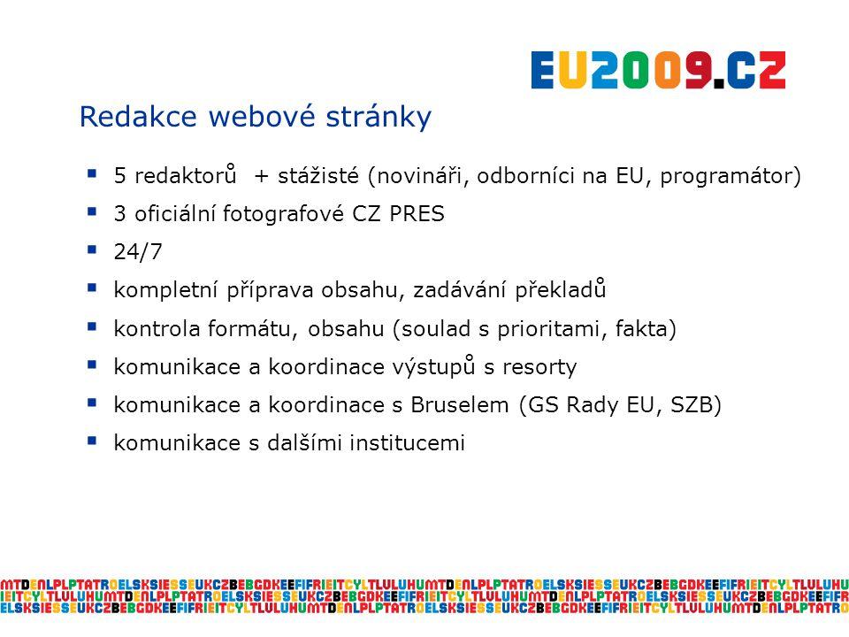 Redakce webové stránky  5 redaktorů + stážisté (novináři, odborníci na EU, programátor)  3 oficiální fotografové CZ PRES  24/7  kompletní příprava obsahu, zadávání překladů  kontrola formátu, obsahu (soulad s prioritami, fakta)  komunikace a koordinace výstupů s resorty  komunikace a koordinace s Bruselem (GS Rady EU, SZB)  komunikace s dalšími institucemi